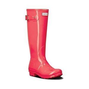 Hunter Original Tall Gloss Rain Boots Hyper Pink